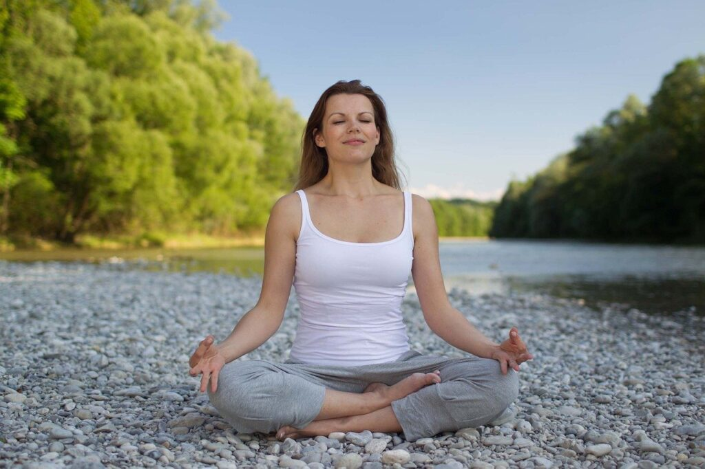 woman, yoga, meditation